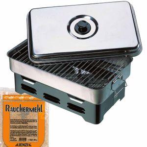 Gourmet Räuchern Starter-Set - Räucherofen + Räuchermehl - für Fisch, Fleisch und Gemüse