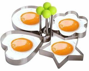 GKA 4er Set Eierform für Spiegeleier Pancake Pfannkuchen Spiegeleierform Edelstahl Herz Blume rund Stern Eierformer