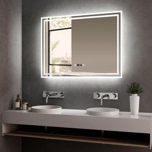 LED Badspiegel 80x60cm Badspiegel mit Beleuchtung kaltweiß Lichtspiegel Badezimmerspiegel Wandspiegel mit Touchschalter, beschlagfrei, Uhr, IP44 energiesparend Meykoers
