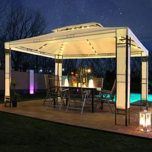 LED - Garten Pavillon Milano 3x4m Pavillion Solar Beleuchtung Pavilion Gartenzelt Designer Pavilon - creme