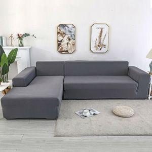 2pcs Sofabezug L Form Grau Stretch Elastische Sofahusse Abdeckung Kissenbezug Schnittsofa