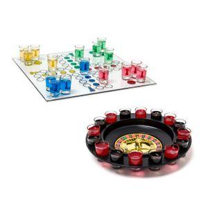 relaxdays 2er Set Trinkspiele Schnaps-Roulette Drinking Ludo Saufspiel Würfel-Spiel Party