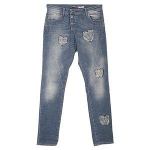 20105 Please, Boyfriend deep crotc,  Damen Jeans Hose, Stretchdenim, blue heart, Large