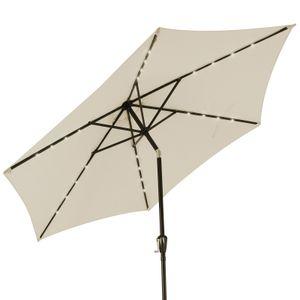 Sonnenschirm ALU 24 LED Kurbel Solar Ø270cm Marktschirm Gartenschirm Schirm , Farbe:beige