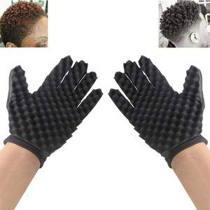 Haarbürste Schwamm das DIY Double Side Mode Curls Coil Magie Werkzeug Welle Barber Haarbürste Schwamm Schwarz lockenwickler Handschuhe