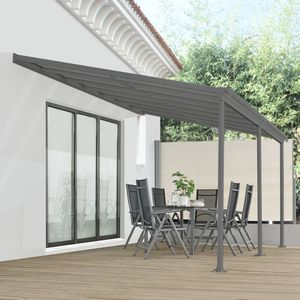 Juskys Aluminium Terrassendach Borneo 4x3m mit Doppelsteg-Platten in dunkelgrau