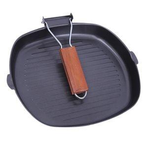 nicht klebrige Eisen Steak Bratpfanne faltbare tragbare quadratische Grillpfanne size2 Größe2 Schwarz