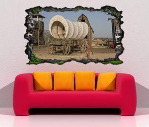 3D Wandtattoo Western Wagen retro Indianer Prärie Wand Aufkleber Wanddurchbruch sticker selbstklebend Wandbild Wandsticker Wohnzimmer 11P208, Wandbild Größe F:ca. 140cmx82cm