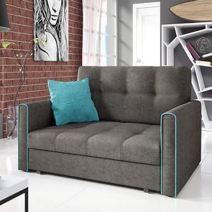 Mirjan24 Schlafsofa Viva Bis II mit Bettkasten und Schlaffunktion, 2-Sitzer Couch vom Hersteller, Wohnzimmer Polstersofa (Alova 36 + Alova 29)