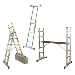 KRAUSE Corda Alu Leitergerüst 2x6 - 2x7 Sprossen Leitern Gerüst EN 131-1, Sprossenzahl:2 x 7 Sprossen