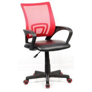 Bürostuhl mit einer Sitzfläche Kunstleder (PU),  Drehstuhl in Schwarz / Rot,Stufenlos höhenverstellbarer Schreibtischstuhl