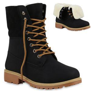 Mytrendshoe Warm Gefütterte Damen Boots Outdoor Stiefel Stiefeletten 813279, Farbe: Schwarz, Größe: 40