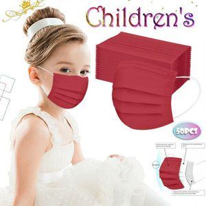 50 Stück Rot Schutzmaske OP Maske für Kinder Mundschutz 3 lagig Einwegmasken Kindermasken