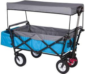 WOLTU Bollerwagen faltbar Handwagen Gartenwagen mit Dach, Rollen mit Bremse mit Sonnenschutz, 80 kg belastbar,Türkis, TW006tkg