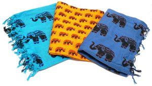 Sarong ELEFANT, Pareo, Hüfttuch, Wickelrock, Strandtuch verschiedene Farben, Farbe:blau