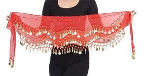 Belly Dance Bauchtanz Hüfttuch Kostüm 128 goldfarbenen Münzen Münzgürtel Fasching Karneval Tanzaufführung Gürtel in rot