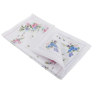 Damen Taschentücher mit Blumenmuster, 8 Stück HAND103 (Einheitsgröße) (Pfeilchenbordüre)