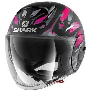 SHARK Kanhji Nano Jet Motorradhelm - Mixed - Schwarz und Pink
