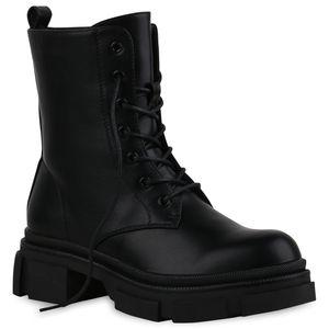Mytrendshoe Damen Stiefeletten Leicht Gefüttert Plateau Boots Blockabsatz 835434, Farbe: Schwarz, Größe: 39