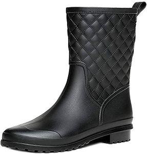 Halbhohe Gummistiefel Damen Kurz Frauen Regenstiefel Stiefeletten Gartenarbeit Mode Outdoor Boots Schwarz Khaki Blau 39