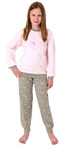 Mädchen Pyjama langarm Schlafanzug mit Bündchen - Tupfenoptik und Herzmotiv - 102 401 10 800, Farbe:rosa, Größe:158/164
