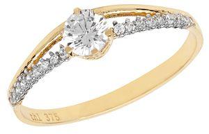 Eleganter 9 Karat (375) Gold Damen - Ring mit Zirkonia, 53 (16.9); WJS11256