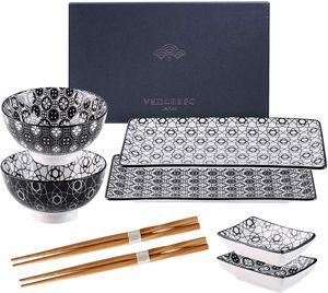 Vancasso Haruka Sushi Set, Porzellan japanische Ess Service, 8-teilig Geschirr-Set für 2 Personen, Beinhaltet Sushi Teller, Schalen, Soßenschälchen und Essstäbchen