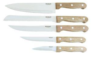MICHELINO Holz-Messerblock 6 tlg. Messerset Holzblock 11237 braun