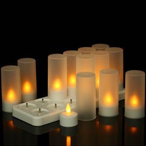ikayaa 12 kabellose LED Weihnachtskerzen mit Befestigungsclip und Fernbedienung | kabellos, dimmbar und batteriebetrieben | Weihnachtskerzen für den Innenbereich | 5V Ladestation
