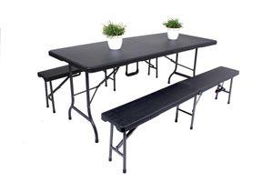 3tlg. Gartentisch Set Sitzgruppe Bank Bänke Esstisch Tisch Rattan Optik schwarz