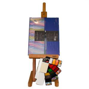 Aquarell Malset - Staffelei - Fabriano Block- 18 Aquarellfarben mit Wasserpinsel