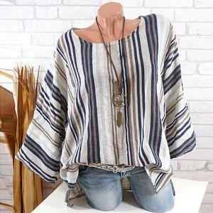 Plus Size Frauen Sommer Casual O-Neck Stripe Print Langarm Bluse Shirt Tops Größe:XXL,Farbe:Ocker