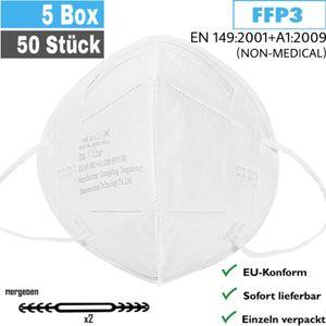 50x FFP3 Maske, CE2163 Atemschutzmasken, Fünfschichtige FFP3 Schutzmaske, Filterung über 99% Mundschutzmask