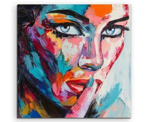 Buntes modernes Ölgemälde  Frau mit blauen Augen auf Leinwand exklusives Wandbild (Leinwanddruck) 60x60cm