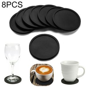 Silikon-Untersetzer - 8 Stück, Schwarz, Glasuntersetzer-Set für Bar, Wohnzimmer, Küche