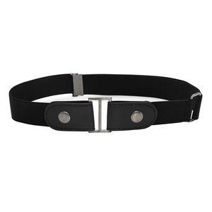 Leder ohne Schnallengürtel Unisex Stretch Jeans Hose Schnalle ohne Taillenumfang 100cm Farbe schwarz