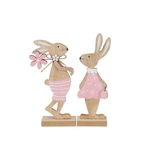2tlg. Osterhase JOHANN & AMY rosa weiß Hasenpaar aus Holz Deko Ostern H19cm