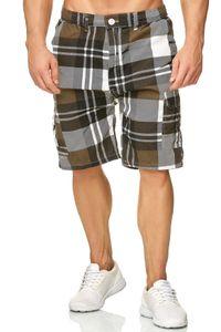 Herren Cargo Shorts Kariert Bermuda Hose Basic Walkshort, Farben:Braun, Größe Shorts:M