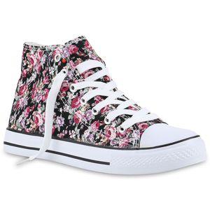 Mytrendshoe Damen Sneakers High Top Sportschuhe Schnürer Stoffschuhe 816759, Farbe: Schwarz Pink Muster, Größe: 40
