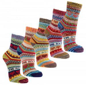 3 Paar bunte Hygge Socken im Norweger-Style Damen Strümpfe 90% Baumwolle Gr. 39/42 (2297)