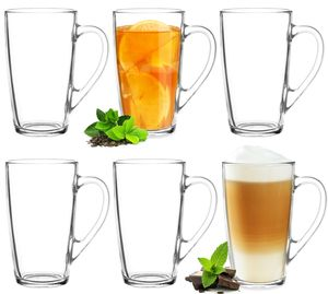 Teegläser Kaffeegläser mit Griff Set 6 Teilig 320ml (max. 400ml) Eisteeglas Groß XXL
