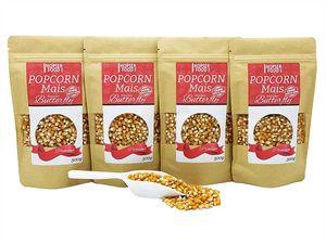Popcorn Mais Butterfly 4 x 500g inkl. Dosierschaufel   Gourmet Qualität Kinopopcorn für Popcornmaschine   ohne Gentechnik und aus nachhaltiger Landwirtschaft   Vegan Glutenfrei (Butterfly 2 Kg)