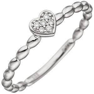 JOBO Damen Ring 56mm Herz 585 Gold Weißgold 6 Diamanten Brillanten Diamantring Herzring