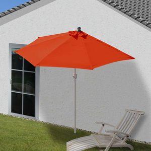 Sonnenschirm halbrund Parla, Halbschirm Balkonschirm, UV 50+ Polyester/Alu 3kg  270cm terrakotta ohne Ständer