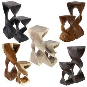 Hocker Holz doppelt gedreht Blumenhocker Sockel Ständer Blumenständer Holzhocker Pflanzenständer Holzblock Akazie, Farbe:Natur W/W, Größe:27x27x50 cm (LBH)