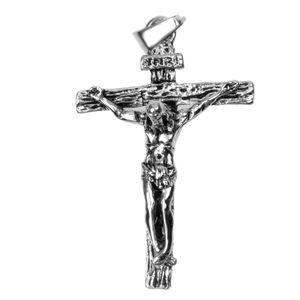 Herren Damen Antque Silber Jesus Christus Kreuz Kruzifix Anhänger Halskette Retro