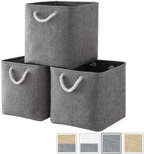 Aufbewahrungsbox Stoff, aufbewahrungskorb Grau, Korbe Stoff in Würfel (33x33x33 cm) für Schrank, Regal, und Kleidung, (Faltbare, 3er Pack)