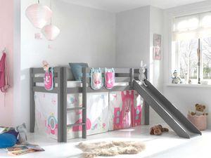 Pino Spielbett mit Rutsche 90x200 cm Grau Princes, Matratze:Soft