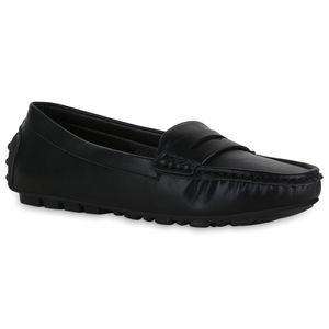 Mytrendshoe Damen Mokassin Slippers Bequeme Freizeitschuhe Flats 833505, Farbe: Schwarz, Größe: 37