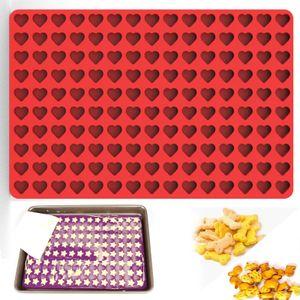 Silikonform 150 Fächer Mini-Herz Schokoladenform Kekseform Küche Werkzeug DIY 3D Backen Form Silikon Backmatte für Süßigkeiten, Kuchen Gelee Pudding(Rot)